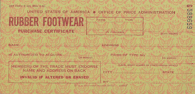 Rubber footware rationing card