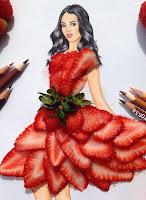 Arte con collage de comida - fresas