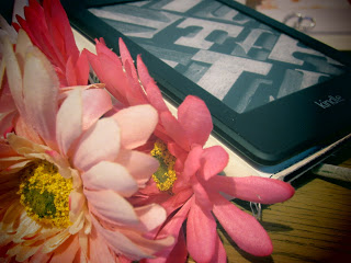Pink flowers and Kindle