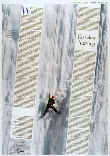 exemple mise en page journal allemand article Eiskälter Aufstieg