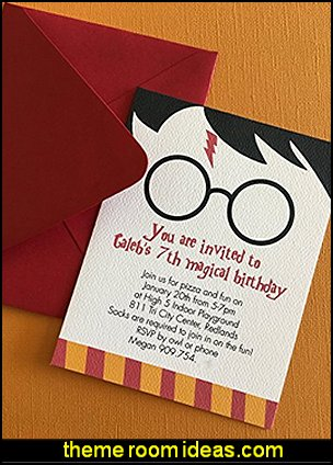 Harry Potter birthday invitation, set of 12, hogwarts school of witchcraft, kids birthday party, book theme party