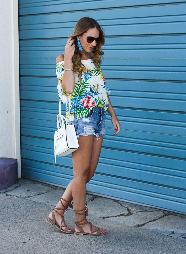 e90559b2b52df Tropical Off the Shoulder Top + WIWT Linkup - Twenties Girl Style