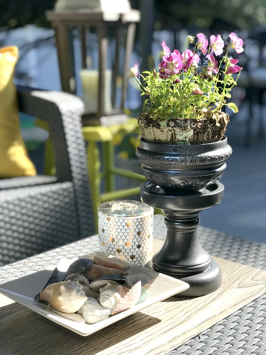 DIY Repurposed Lamp Parts Pedestal Planter