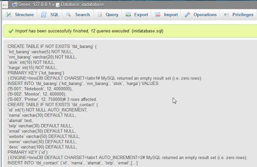 Export dan Import Database MySQL dengan phpMyAdmin