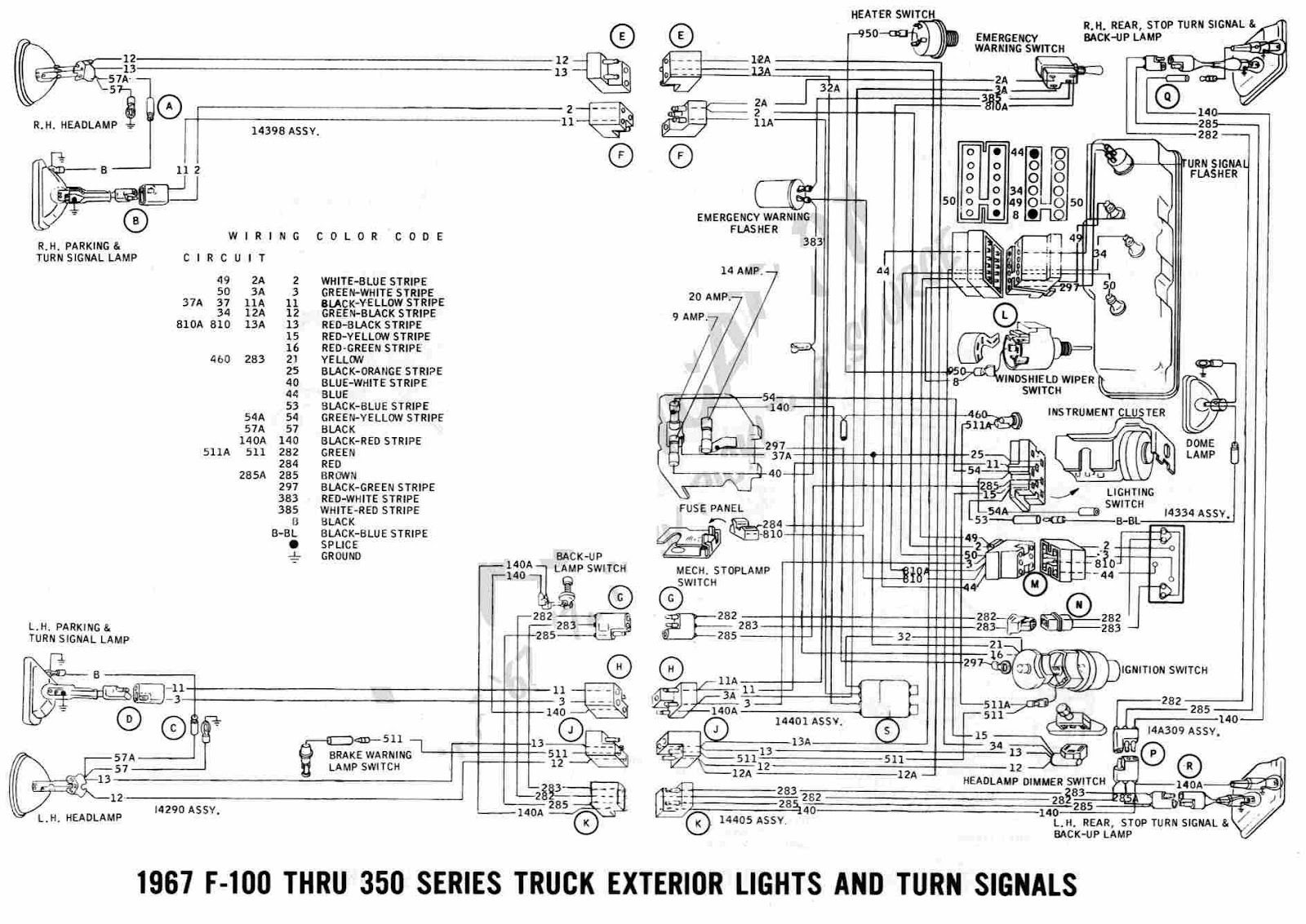 ford f-100 through f-350 truck 1967 exterior lights and ... 1994 f 350 wiring diagram