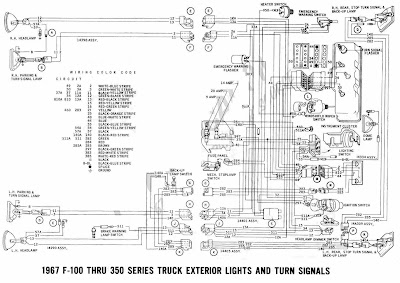ford f series wiring diagram    ford       f    100 through    f    350 truck 1967 exterior lights and     ford       f    100 through    f    350 truck 1967 exterior lights and