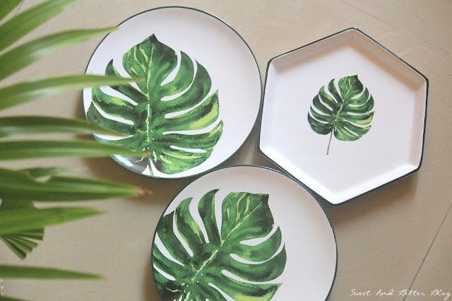 Botanical Leaf Tropical Salad Plate and Hexagonal Platter