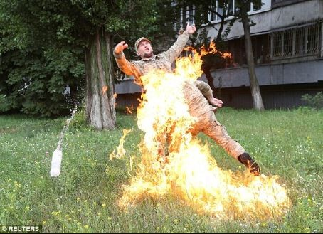 Photos: Soldier sets himself on fire to protest after he was sacked