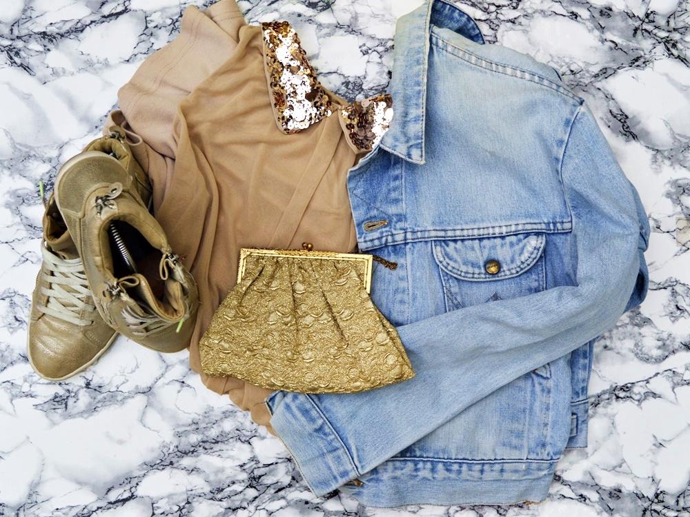 Denim Herbst & Shirtkleid mit Pailettenkragen