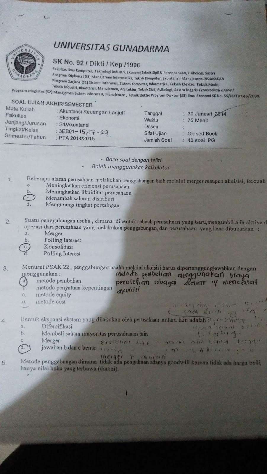Soal Dan Jawaban Akuntansi Keuangan Menengah 1 Guru Galeri