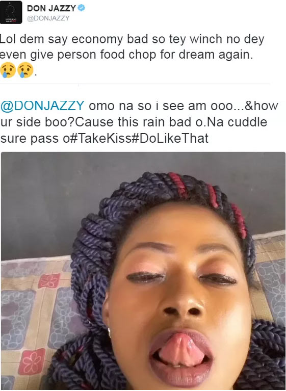 """Girl tells Don Jazzy to """"manage this kiss"""" as he complains over hard times"""
