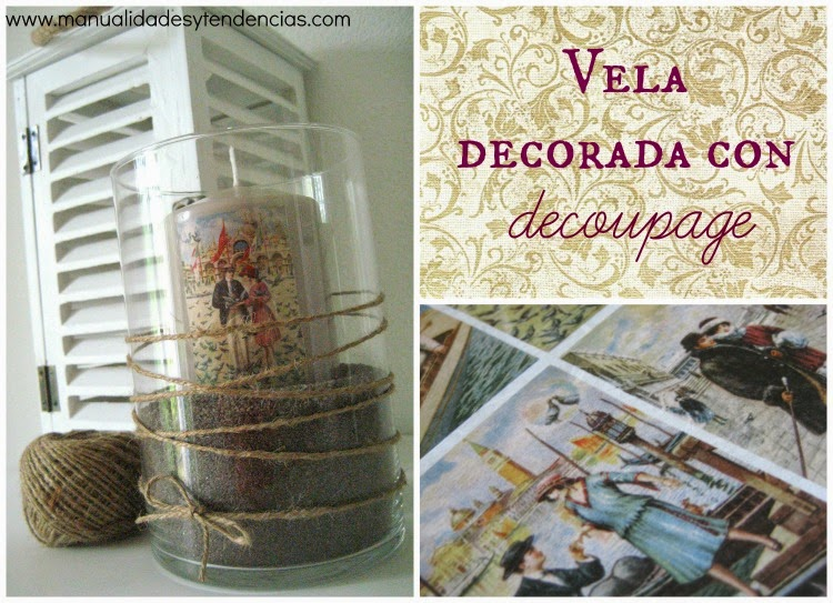 Cómo decorar una vela con decoupage / How to decoupage a candle