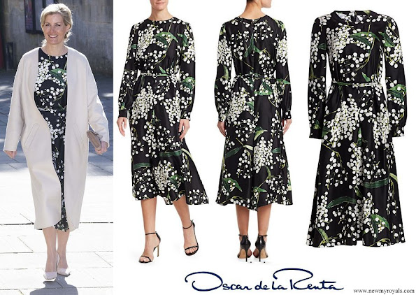 The Countess of Wessex wore a floral silk midi dress by Oscar de la Renta