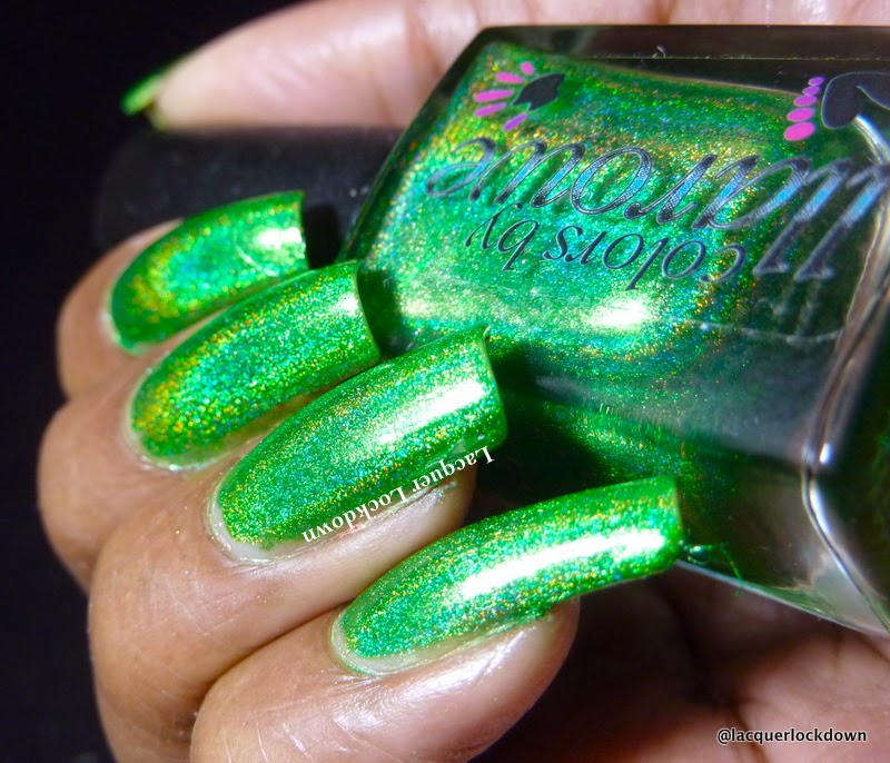 Lacquer Lockdown - Colors by Illarowe.  CBL, Colors by Llarowe Gemini Rising, green holo nail art, nail art stamping blog, nail art stamping, Betina 08, star nail art, stars, stamping, simple halloween nail art, nail art