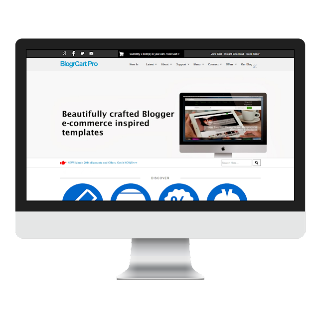 responsive Blogger template with shopping cart Paypal checkout