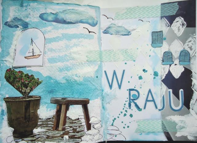 greckie klimaty na papierze, art-journal. Praca plastyczna Grecja