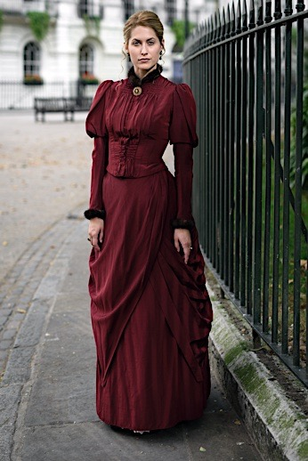 Daytime attire for Victorian women. Red/crimson/wine/burgundy/maroon bodice with skirt. for steampunk or neo-victorian fashion or historically accurate victorian clothing for upper class ladies.