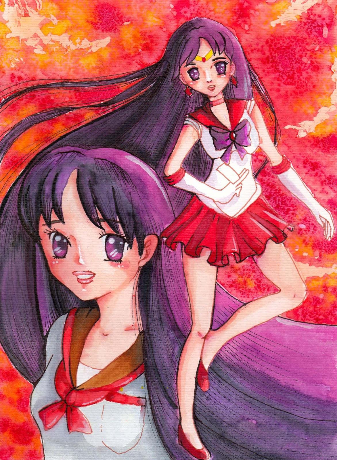 Sailor Mars Crystal Aquarell Fanart