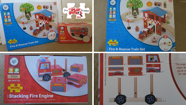 Bigjigs rail set and stacking fire engine