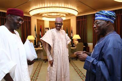 More Photos Of President Buhari And Olusegun Obasanjo At The Villa Today