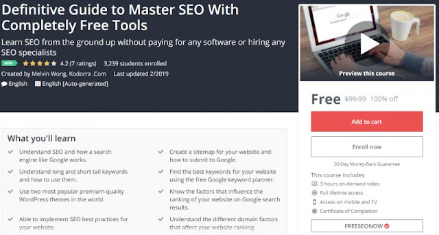 [100% Off] Definitive Guide to Master SEO With Completely Free Tools| Worth 99,99$