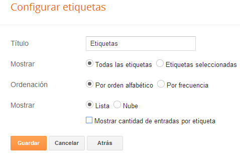 configurar gadget de etiquetas en blogger