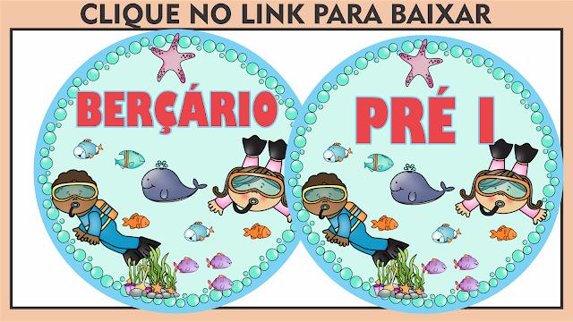 Placas para Porta Educação Infantil Fundo do Mar