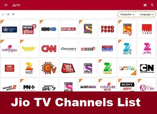 Jio TV Channels List Latest Update- Jio DTH Channels List