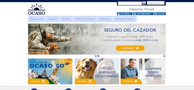 Portada de la web institucional de Ocaso
