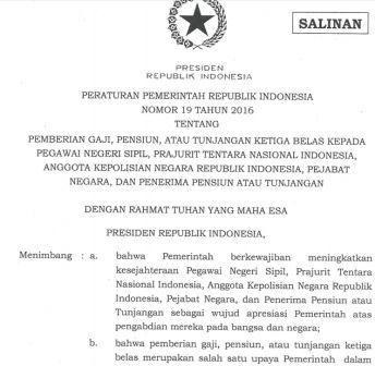 gambar Peraturan Pemerintah Nomor 19 Tahun 2016 tentang gaji 13 pns