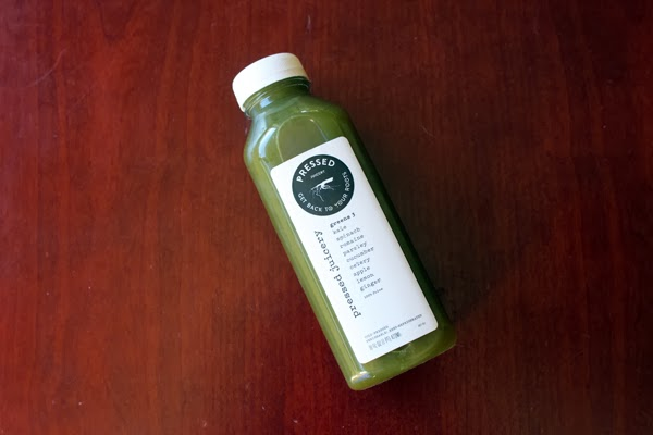 Pressed Juicery Greens 3: Kale, spinach, romaine, parsley, cucumber, celery, apple, lemon & ginger