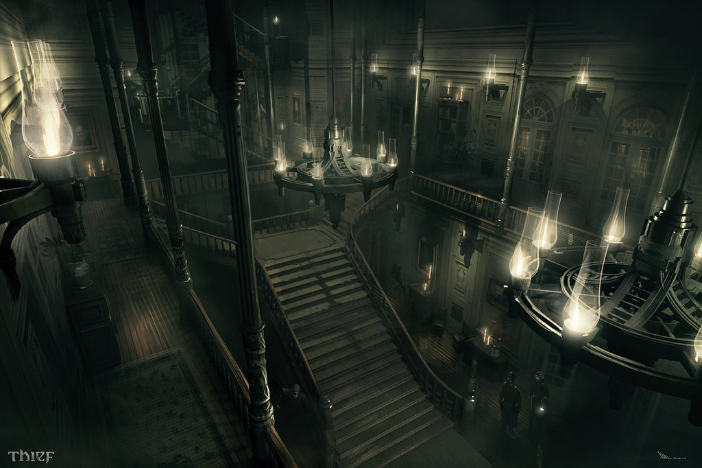 03-Architect-Mansion-Hall-Mathieu-Latour-Duhaime-Concept-Art-for-Thief-Steampunk-feel-Video-Game-www-designstack-co