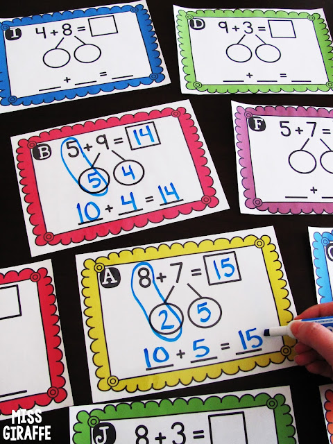 Easy directions how to teach making a ten to add in first grade as well as fun games and activities you can do to practice in fun ways