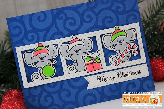 Merry Christmas Card by Juliana Michaels featuring Noelle Mouse Stamp Set by Gina K Designs