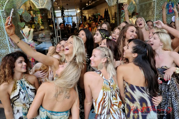 Group selfie time with the Camilla and the Ringleaders - Style guide and store launch Paddington Sydney - Photographed by Kent Johnson.