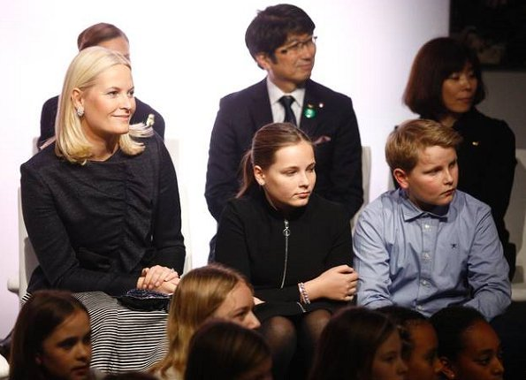 Crown Princess Mette-Marit wore Valentino Ruffle jacket. Princess Ingrid Alexandra, Prince Sverre Magnus
