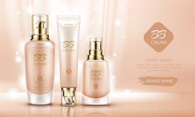 Bb cream beauty cosmetics bottles for skin foundation. Free Vector