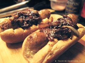Pan-Fried Bratwursts & Sweet Onions in a Hard Apple Cider | www.therisingspoon.com