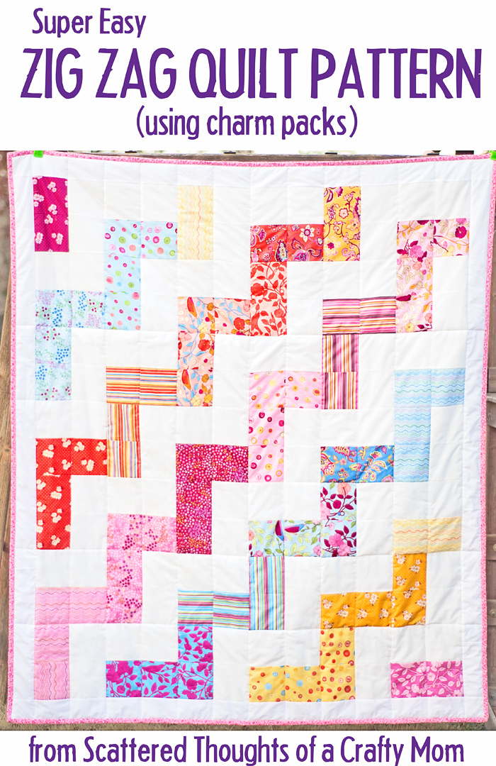 Use this free Quilt pattern and tutorial to make a picnic sized zig zag (large chevron) quilt!  (Works great with Charm Packs!)