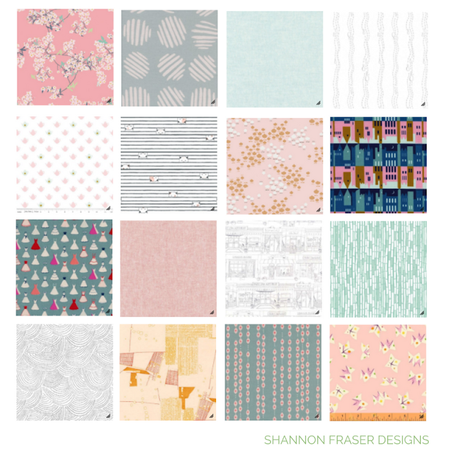 16 piece fabric bundle based on wanderlust theme featuring light pinks and soft blues and low volume black and white fabrics by Shannon Fraser Designs