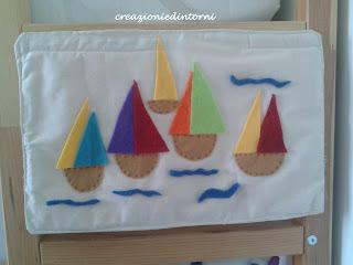 bateaux en feutrine sur panneau decoratif en coton