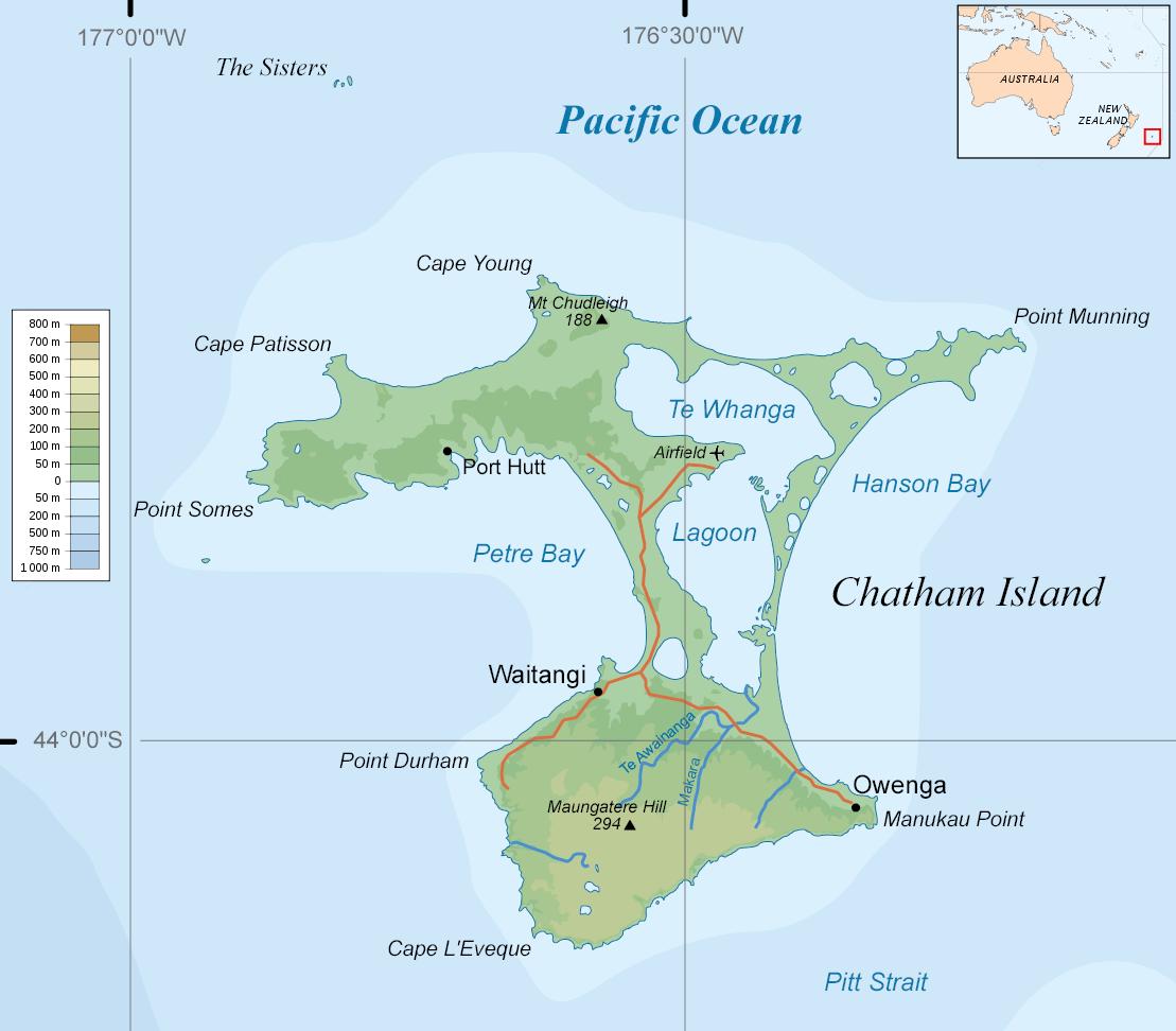 Waitangi Chatham Islands Map