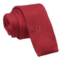 MENS KNITTED BURGUNDY SQUARE END TIE