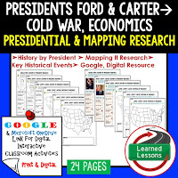 President Ford and Carter, American History Research Graphic Organizers, American History Map Activities, American History Digital Interactive Notebook, American History Presidential Research, American History Summer School