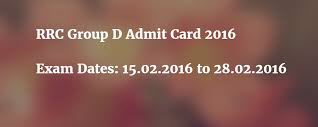 RRC Group D Admit Card 2016 - Download Admit Card RRC Group D @www.rrcnr.org