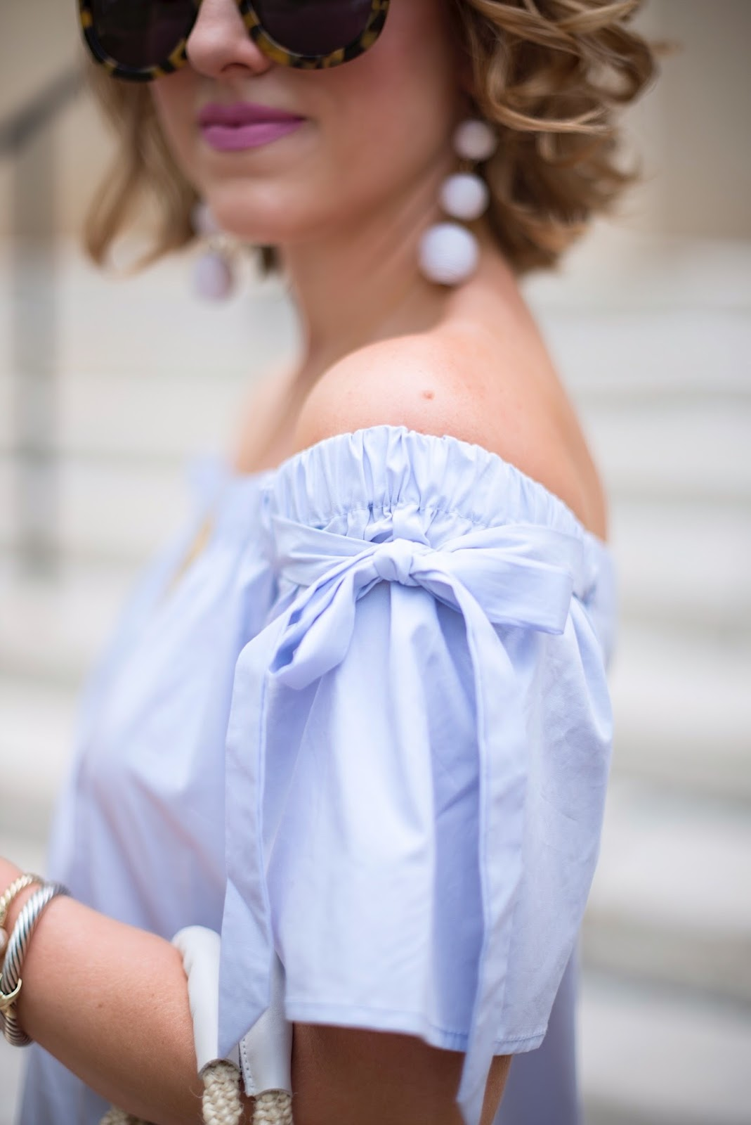 Bow Sleeve OTS Dress - Click through to see more on Something Delightful Blog.