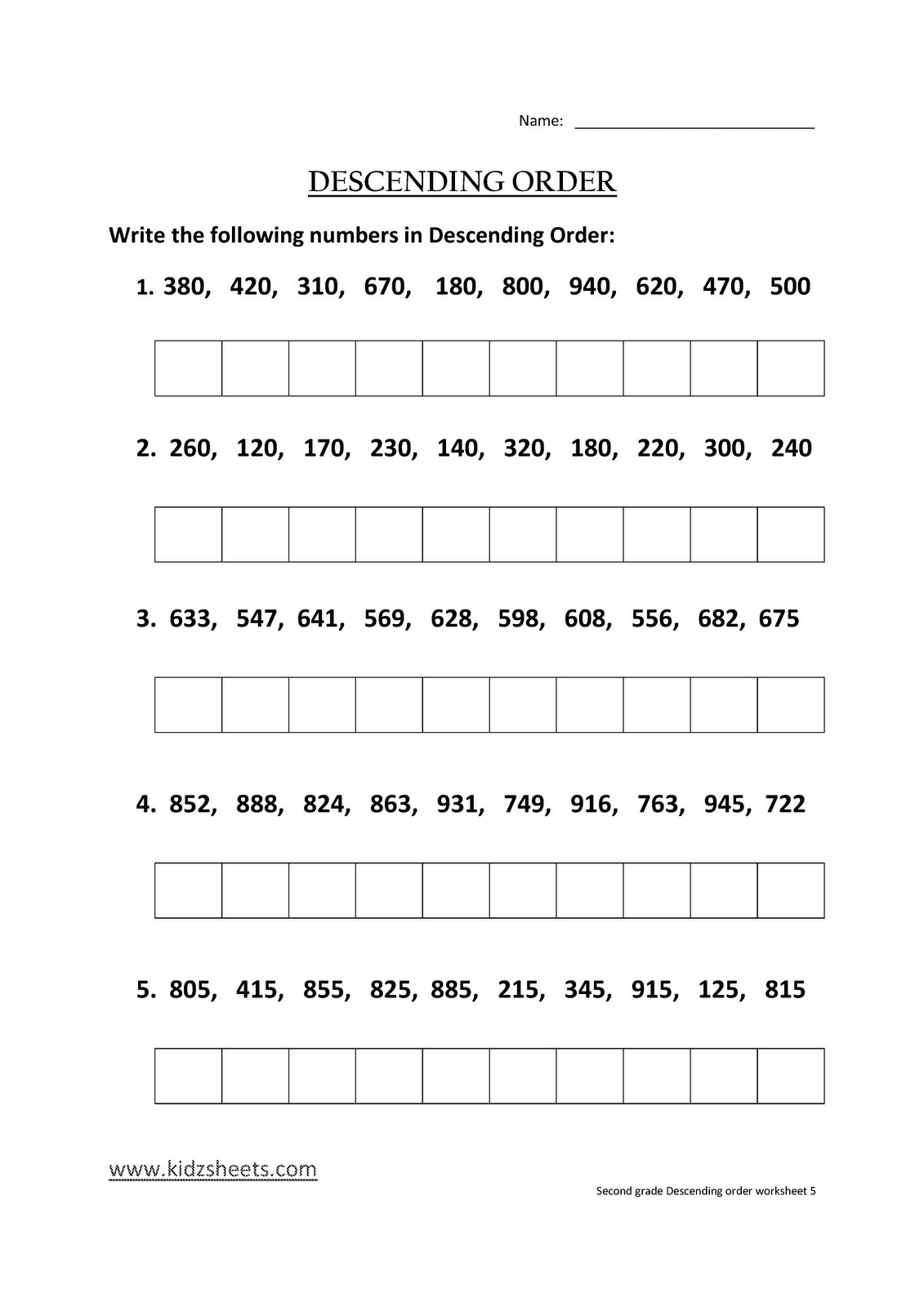 Kidz Worksheets Second Grade Descending Order Worksheet5