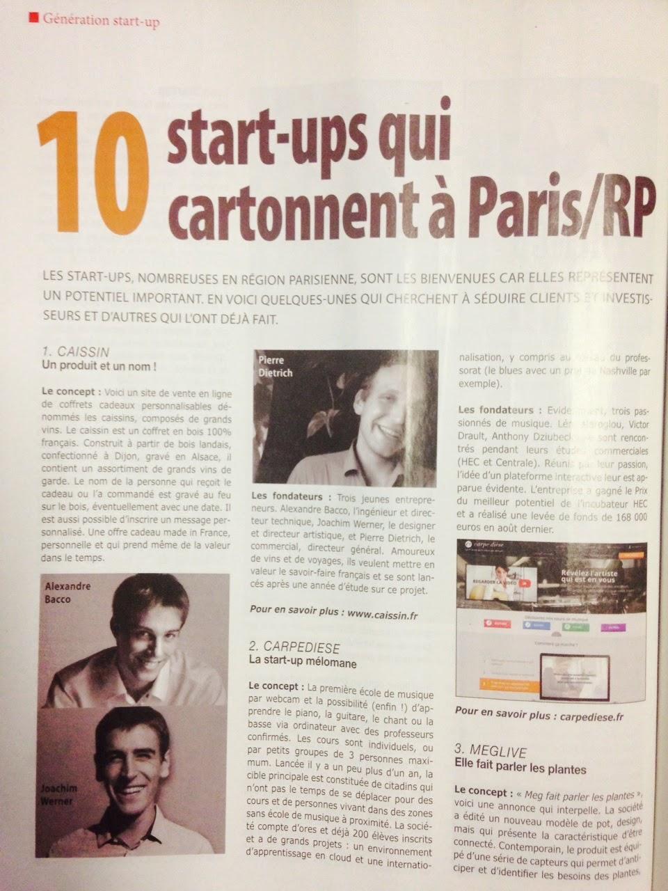 Article dans Économie magazine consacré à Caissin