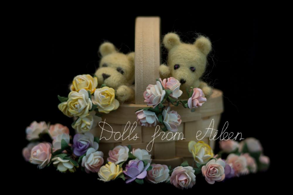 OOAK mini needle felted teddy bears with basket of flowers
