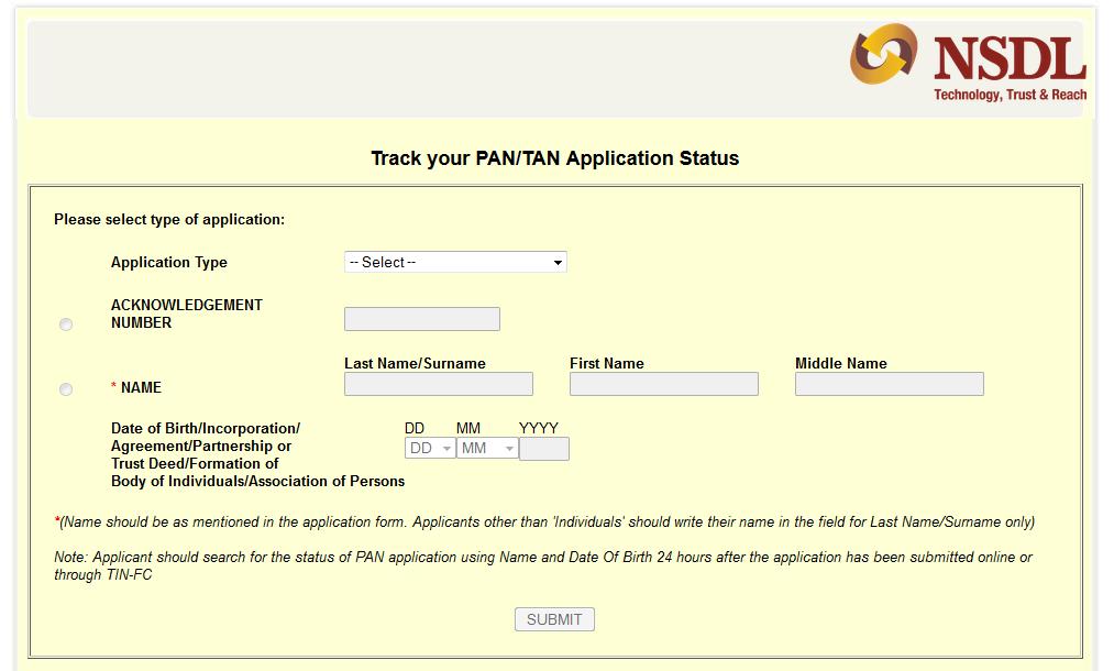 Check PAN status online